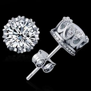 Sterling silver cz crown studs
